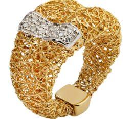Женское золотое кольцо плетеное