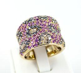 Коктейльное кольцо с розовыми сапфирами