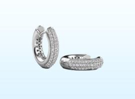 Hoop earrings Tristan B 14 mm 585 white gold Diamond 0.322 crt