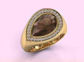 Ring Latashia 585 gold Smokey quartz 12×8 mm