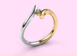 Ring Amy 585 gold Diamond 0.10 crt